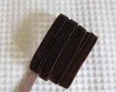3 Yards Chocolate Brown Velvet Ribbon 3/8 inch - 30
