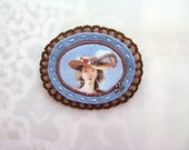 cameo brooch - felt jewelry brooch - lady portrait brooch - pastel blue and camel brown tones - victorian style brooch