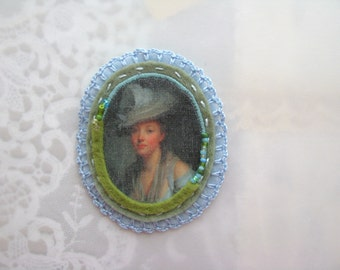 SALE - cameo brooch - lady with hat brooch - pale blue and seafoam green felt brooch - gift for her - blue museum painting brooch