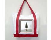 Christmas Red Handle Tote Bag, Christmas Tree, New Canvas Styling, Original Photography  By Loves Paris Studio, 5 Styles,  FREE SHIPPING USA