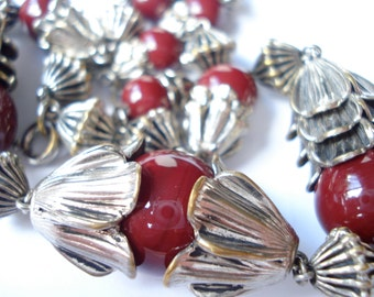 Art Deco Necklace Maroon Glass Beads  1920's 1930's