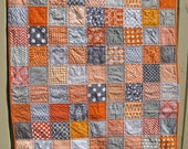 Handmade unisex baby quilt in grey and orange, gray, baby shower present, baby birthday present, unisex present, MADE TO ORDER