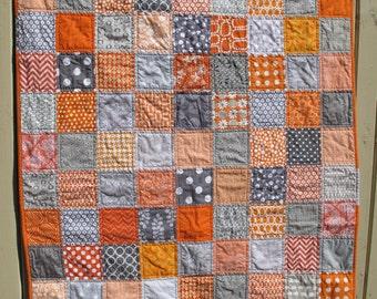 Handmade unisex baby quilt in grey and orange, gray, baby shower present, baby birthday present, unisex present, MADE TO ORDER