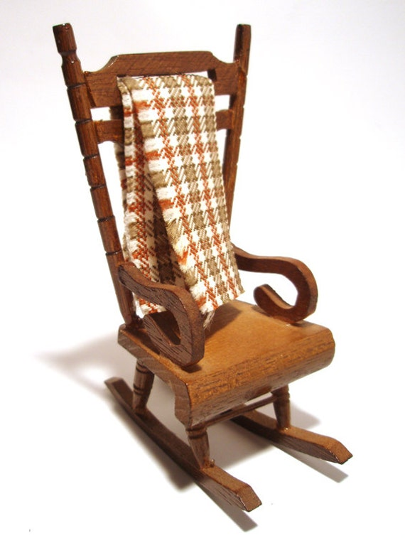Miniature Red Rocking Chair ~ Rocking chair miniature doll house little wooden by