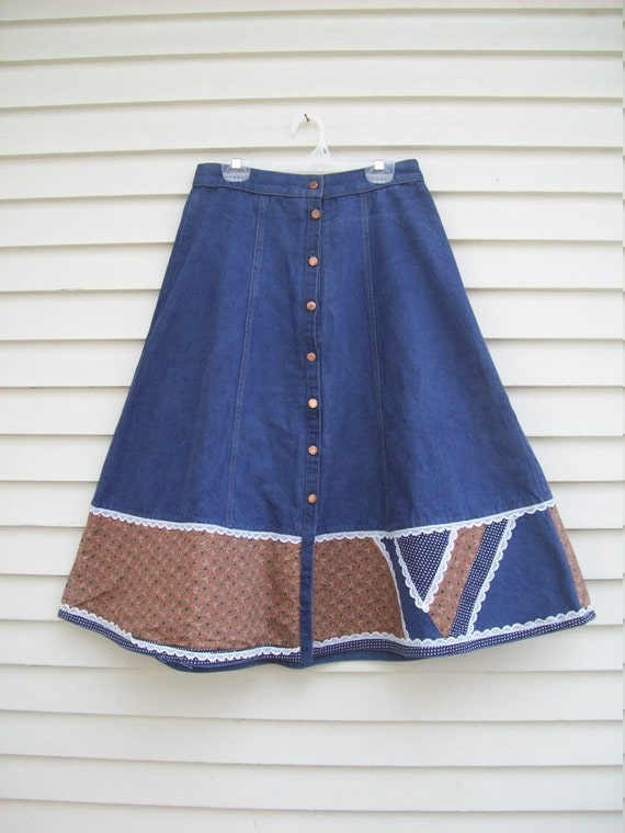 authentic gunne sax denim and ditsy floral prairie skirt with