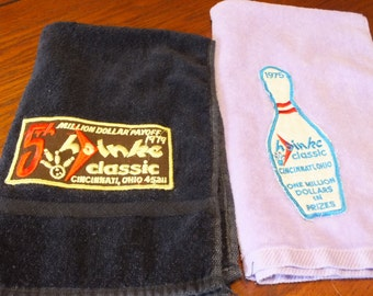 ON SALE 2 Vintage Hoinke Classic Bowling Towels from Cincinnati Ohio