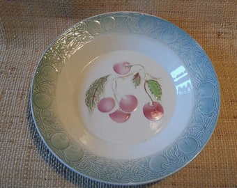 Antique French majolica St Clement cherry dish