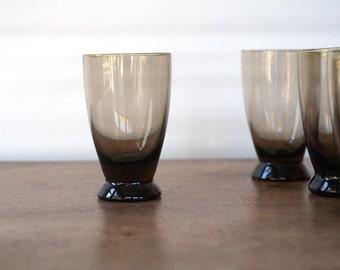 Vintage Glass Cordial Glasses, Shot Glass Set,  Smoke Brown Minimalist Design