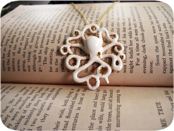 Reserved: 2 White Octopus Necklace