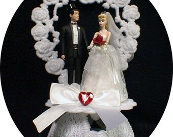 1950 STYLE Blond Hair Barbie Ken Wedding Cake Topper classic Bride groom