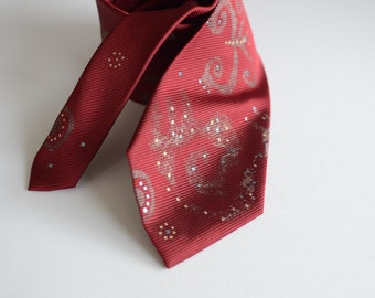 Men necktie red, hand painted neck tie red, gift for men, butterfly design necktie -  Hand painted accessories OOAK ready to ship