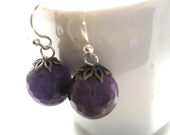 Amethyst Earrings, Simple Sterling Silver Earrings, Modern, Purple Gemstone Earrings, February Birthsone