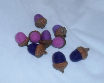 9 Needle Felted Acorns - Purples and Pink - FREE SHIPPING to US and Canada