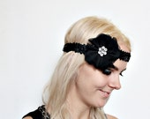 Flapper Black Flower and Rhinestone Headband 1920s art deco