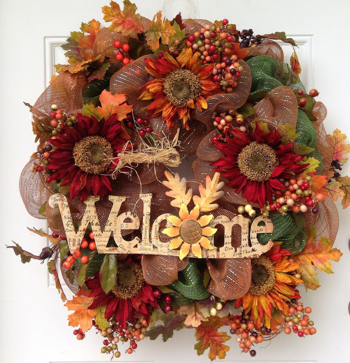 Fall Thanksgiving Wreath Welcome Sunflowers