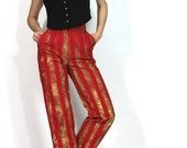 Moves Like Jagger Red Gold Circus Stripe Pants Funky Artsy Trousers xs s