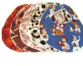 Sports bib and burp cloth set 4 pieces football, basketball, baseball, soccer