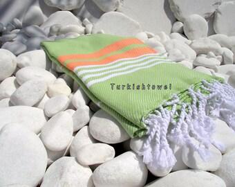Turkishtowel-Hand woven,all cotton,3 color for weft Turkish Bath,Beach Towel-Orange,White stripes on Apple Green