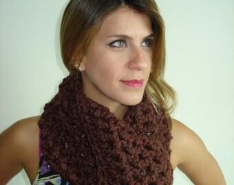 Handmade Cowl/Crochet Scarf Dark Brown