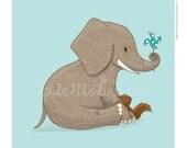 Children's Wall Art Print - Kids Decor - Whimsical and Sweet Wall Art Illustration - kids nursery - Cute Animal Series - The Elephant
