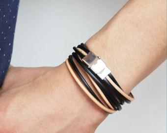 Black and Nude String Double Wrap Leather Bracelet(Black/Nude Multi)
