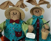 "Pair of Easter Bunnies ~ Mr. Rabbit and Ms. Bunny ~ Each 22"" Tall"