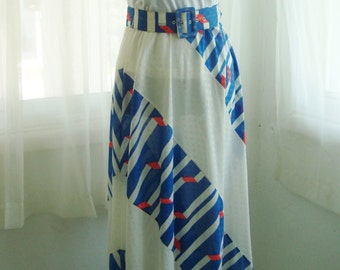 1960's Maxi Skirt, Stunning  1960's  Screen Printed Resort Wear Skirt, Size Medium