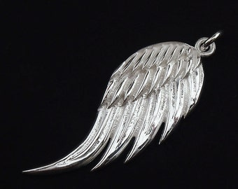 1 of 925 Sterling Silver Angel Wing Pendant 14x34mm. :th1743