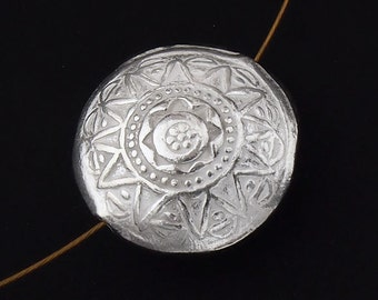 1 of Karen Hill Tribe Silver Imprint Puffy Round Bead 17 mm. :ka3642