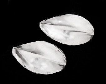 2 of Karen Hill Tribe Silver Twisted Leaf Beads 13x22 mm. :ka1206