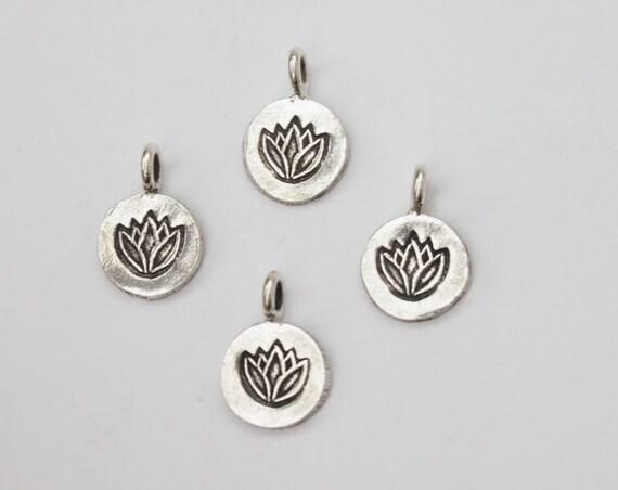 4 of Karen Hill Tribe Silver Lotus Charms 10 mm. :ka1723