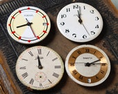 Set of 4 Vintage watch movement, watch parts, watch faces, cases