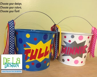 Personalized Easter basket, 5 quart metal bucket, Super Hero, comic book, Birthday or Halloween trick or treat metal bucket