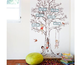 Sarah Jane CUSTOM Family Tree Eco-Friendly Reusable Fabric Wall Decals by Pop & Lolli
