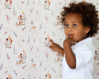 Sarah Jane Rocket Launch Club  WALLPAPER -Removable, Re-usable, FABRIC, Eco-Friendly, Non-Toxic.  No Mess. No Glue Pop & Lolli