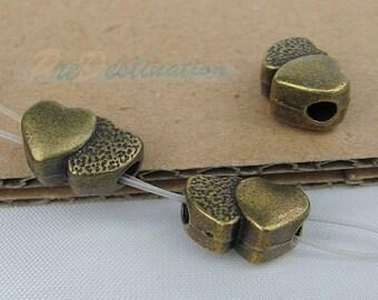 10 pcs Antique Brass Double Heart Beads, 13X8X7mm Moulding Accessories for Necklace, Bracelet, Angklet, Waist Chain, Pendant etc.