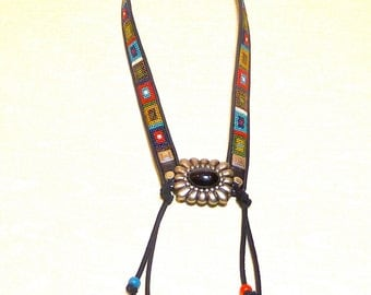 NATIVE Statement Necklace Repurposed Silver Red Blue Black Green Gold Beaded Belt