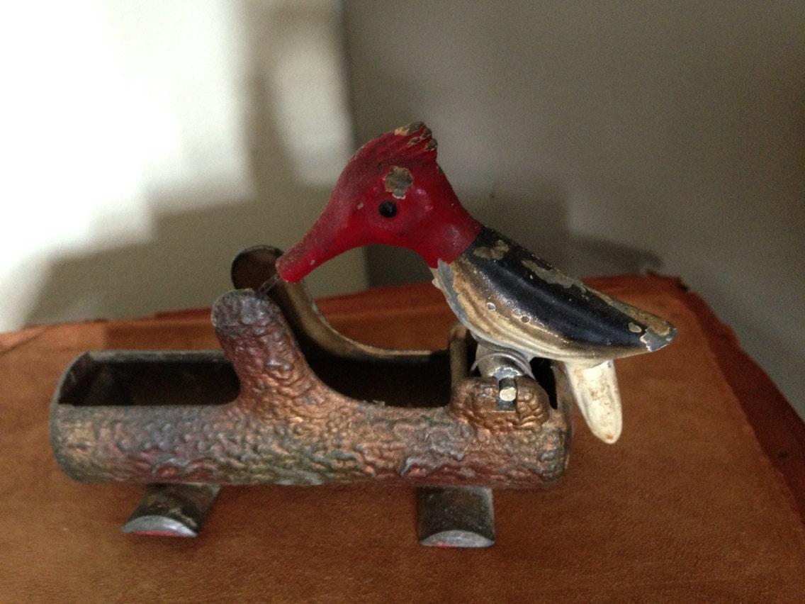 Vintage Metal Woodpecker Toothpick Holder