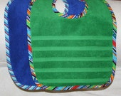 Toddler Bibs for Baby Boy Pack of 2 Everyday Basic Bibs with Fun Novelty Trims on a Green Bib and a Royal Blue Bib Basic Toddler Bib Boys