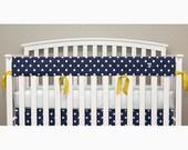 Teething Crib Rail Cover Protector - Navy Polka Dot - Yellow Ties - Hayden -T1