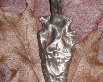 Primitive.. Authentic Native American Arrow Head Pendant in Sterling SIlver