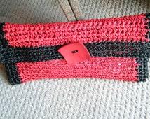Handbag, purse, clutch, evening bag, Handmade Crochet Clutch made from Raffia Yarn.  Black and Red, ready to ship now.