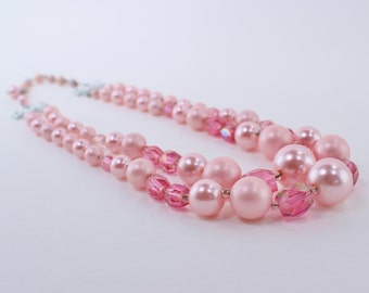 SALE 20 PERCENT OFF Vintage Signed Japan Double Two Strand Faux Pastel Matte Glossy Pearl Pink Aurora Borealis Glass Beaded Necklace
