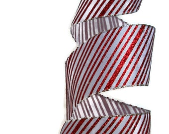 "Candy Cane Striped Wire Ribbon... 2.5"" X 4 yards"
