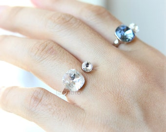 Square and Round Crystal Ring / adjustable ring, choose your color