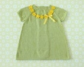 Knitted baby dress green. Yellow Crochet necklace. 100% cotton. READY TO SHIP size 1/3 Months
