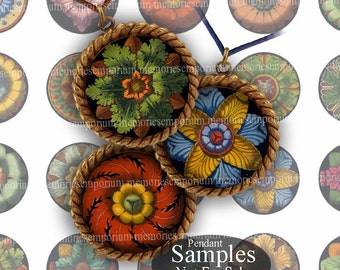Circles Floral Antique Rosettes One Inch 1 Inchies for DIY Jewelry Pendants Magnets Buttons Bottlecaps Digital Printable Paper Download 149