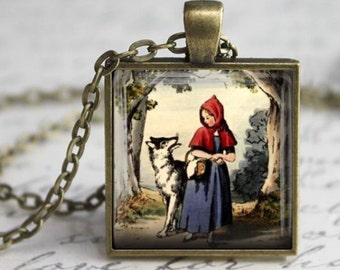 Little Red Riding Hood Necklace - Antique Charm - Free Chain or Keyring (307)