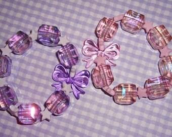 Iridescent Galactic Ice Cube Beads Pastel Stars Beaded Bracelet - Purple