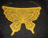 Crochet lace butterfly pattern yellow headscarf or apron for young women